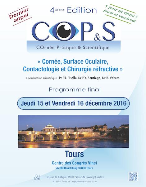 Affiche COPS (COrnée Pratique & Scientique) à Tours en décembre 2016